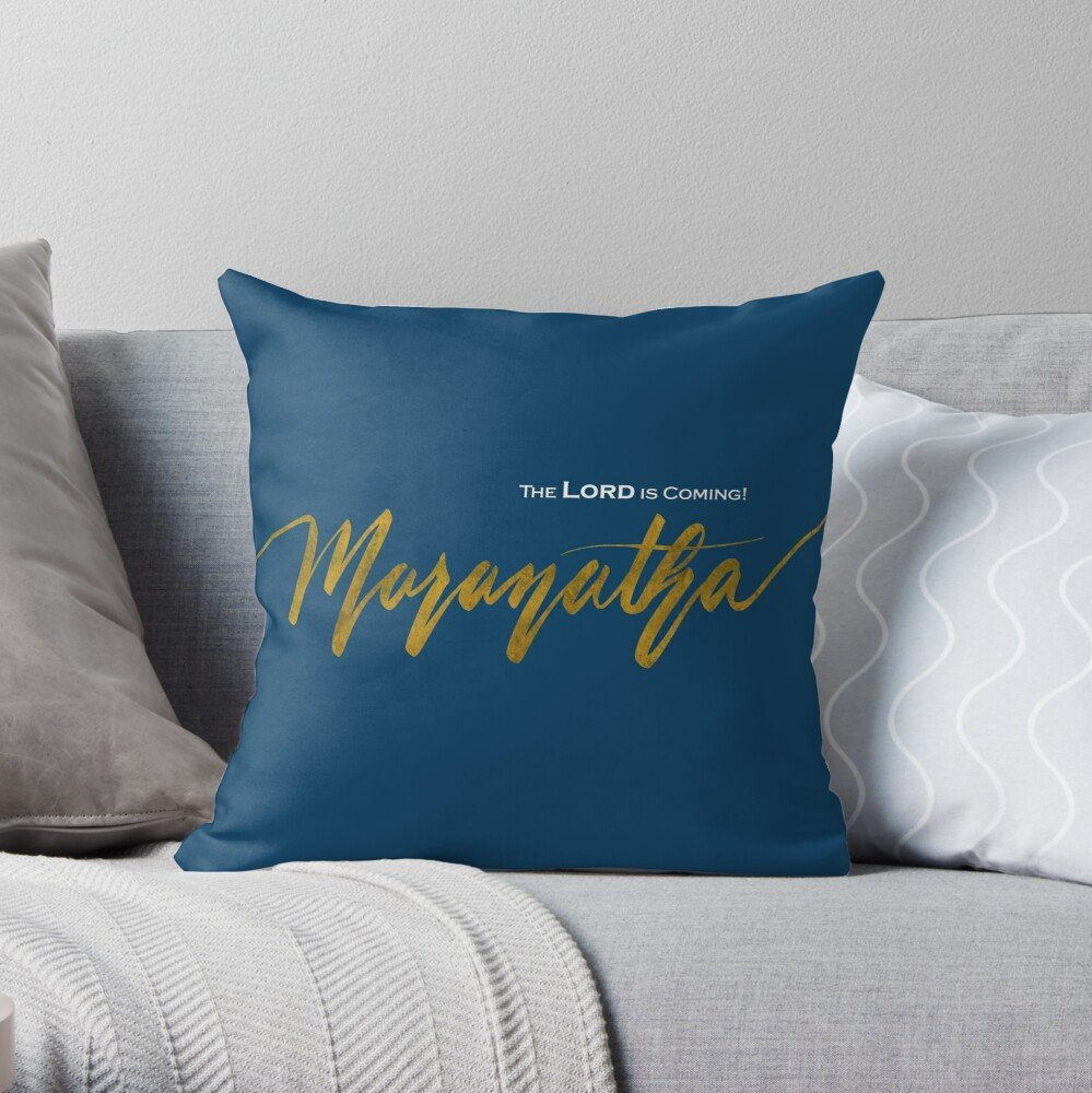 Maranatha blue throw pillow